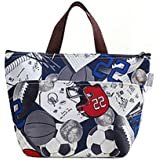 Portable Soccer Sport Pattern Waterproof Picnic Lunch Bag Tote Reusable Insulated Cooler Lunch Case Travel Zipper Organizer Box Lunch Container Food Bento Storage Carry Bag by SamGreatWorld