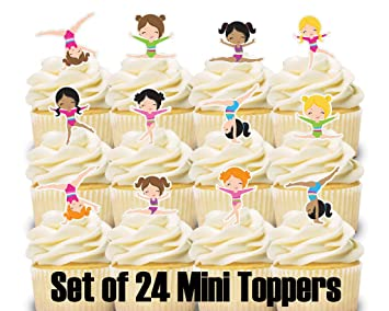 Image Unavailable Not Available For Color 24 Mini Cupcake Toppers Gymnastics Birthday