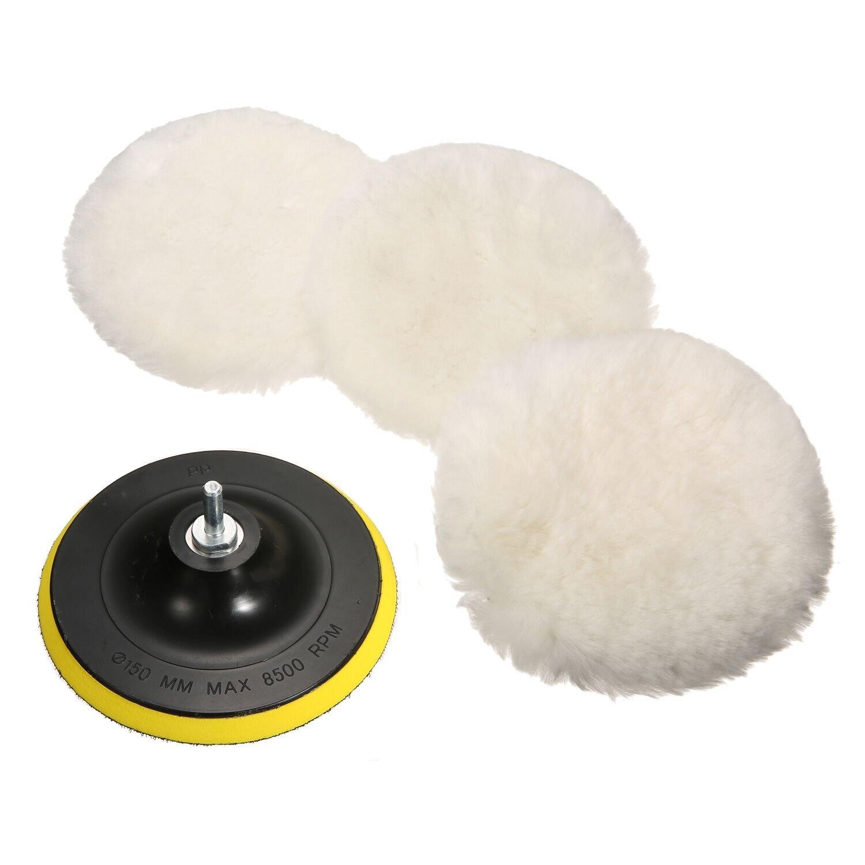 MATCC 5 Pcs 6 Inch Polishing Buffer Wool and Wheel Polishing Pad Woolen Polishing Waxing Pads Kits with M14 Drill Adapter