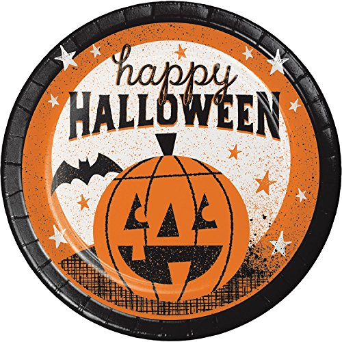 """(Pack of 96 Orange and White """"Happy Halloween"""" Disposable Party Luncheon Plate)"""