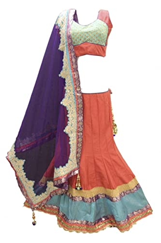 DCC2491 Corallo e Indaco Tradizionale Chaniya Choli Indian Bollywood Lengha Choli Bust Size 38 Inche...
