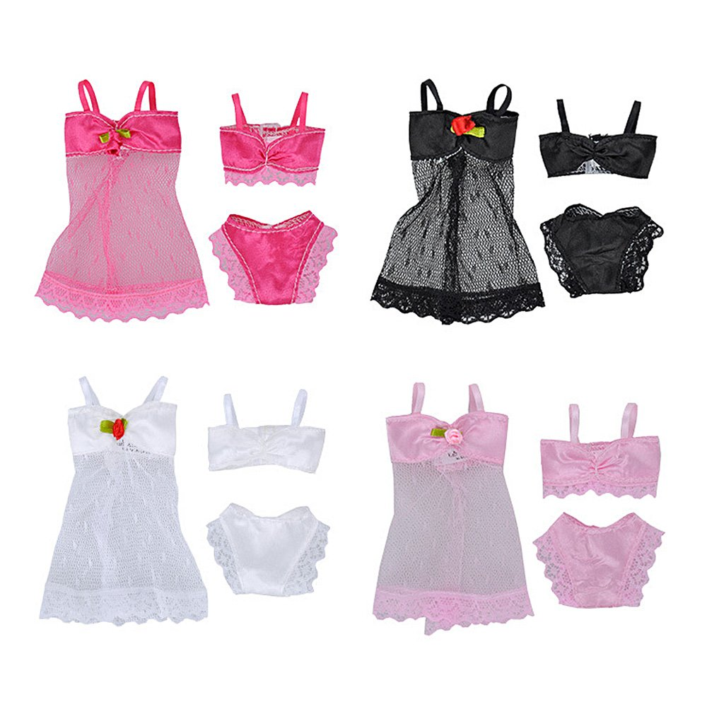 Beetest® - 4 Set Colori Assortiti Moda Ragazza Bambola Giocattolo Estate Spiaggia Costume da Bagno Bikini Abiti Accessori per Barbie Giocattoli Bambini Ragazze Compleanno Regalo di Natale