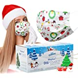 Christmas Disposable face Mask for Women Man white Cane Christmas Masks Disposable for Adult Christmas Masks Holiday…