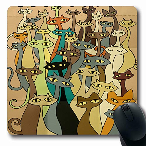 Ahawoso Mousepad Oblong 7.9x9.8 Inches Orange Celebration Hand Drawing Doodle Cats Evil Group Flat Bizarre Red Cool Design Office Computer Laptop Notebook Mouse Pad,Non-Slip Rubber