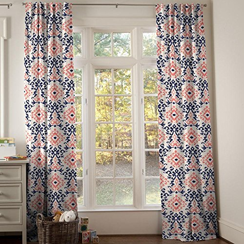 Carousel Designs Navy and Coral Ikat Damask Drape Panel 96-Inch Length Standard Lining 42-Inch Width by Carousel Designs