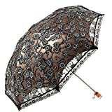 MiiHome Ladies Umbrella Lace Parasol Folding Umbrella Sun Shade Anti-uv (Black)