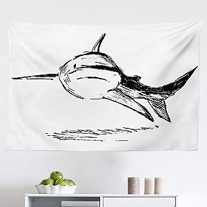 "Lunarable Shark Tapestry, Doodle Image of Cat Shark Tropic Atlantic Saltwater Sketch Monster Prehistoric Art, Fabric Wall Hanging Decor for Bedroom Living Room Dorm, 45"" X 30"", Black White"