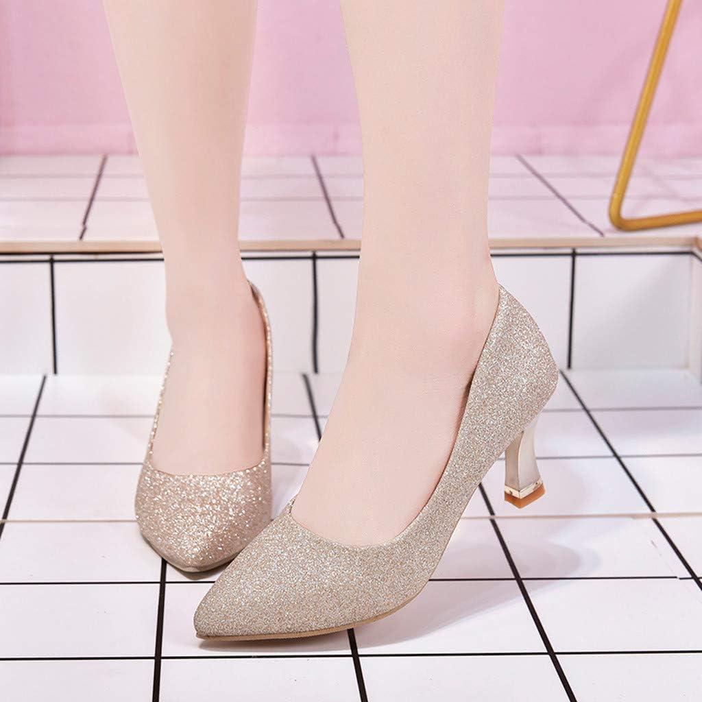 Chaussures Femmes Travail Pointu Toe Respirantes Slip-on Sequin Occasionnels emplois Parti Unique Paillettes Bout Fashion Partie Haut Simples Mode Paillette f/ête Talons Hauts