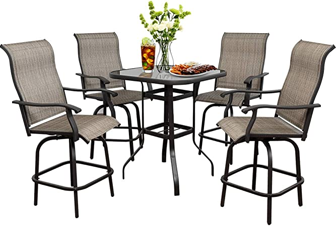 Amazon Com Suny Deals 5pcs Patio Swivel Bar Set Outdoor Height Bistro Charis Set With 360 Degree Swivel Patio Bar Chairs And Bar Table All Weather Steel Frame Furniture For Backyard Garden Chairs Table Set