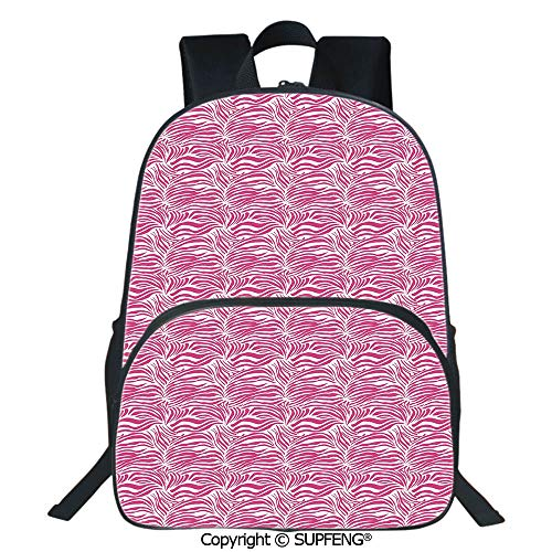 SCOXIXI Laptop Backpack Striped Zebra Animal Skin Pattern in Vivid Color Fun Stylish Artwork Print Decorative (15.75