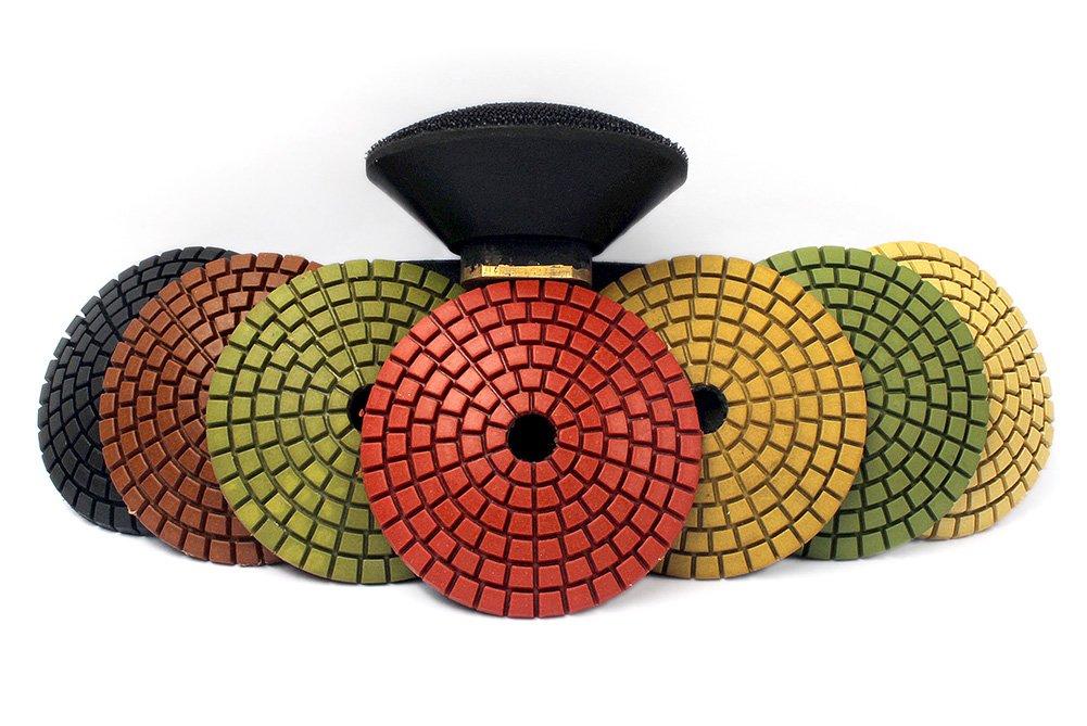 Z-LION 3'' Diamond Convex Polishing Pad with 5/8''-11 Thread Backer Pad Convex Disc for Marble Granite