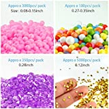 OPount 15 Pack Slime Making Kit Including Fishbowl Beads, Foam Balls, Slime Storage Containers, Confetti, Fruit Slices, Slime Tools and Wooden Spoon for Slime Making Art DIY Craft