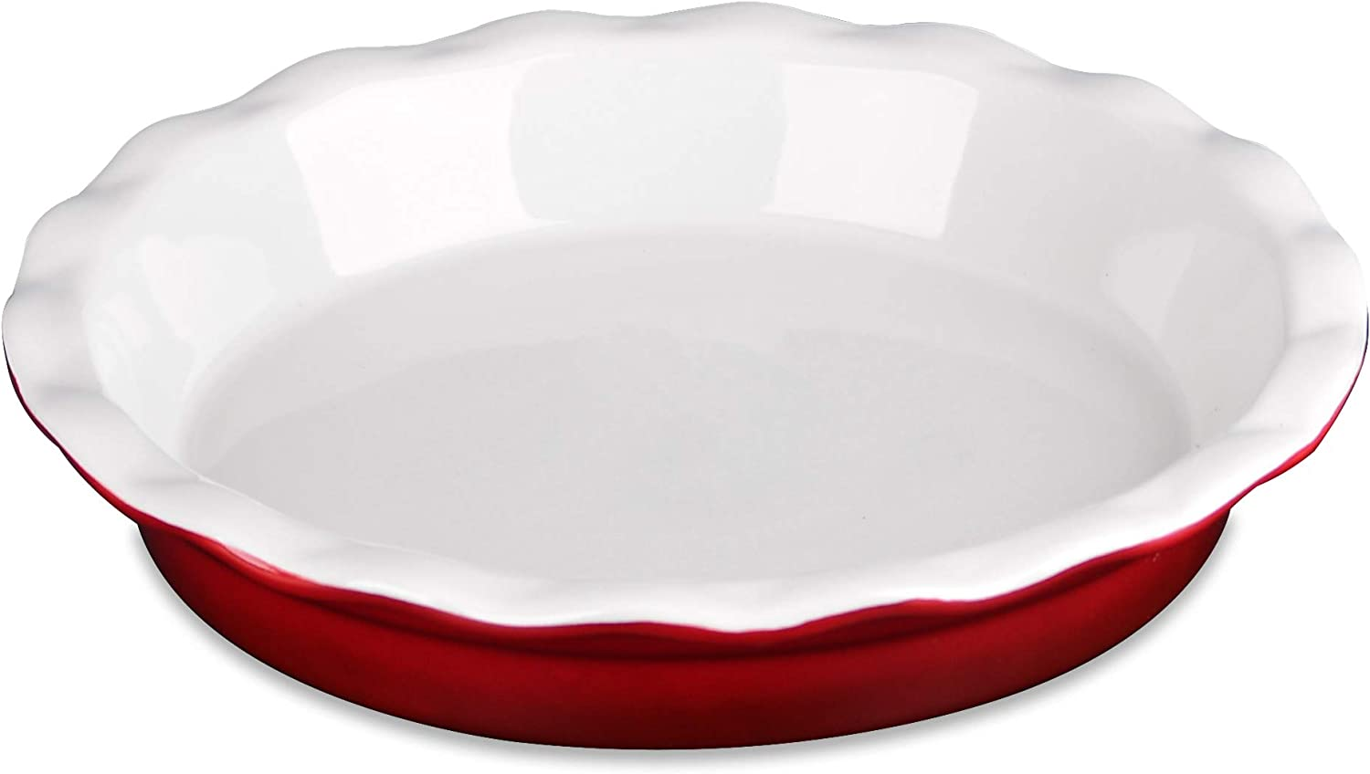 LOVECASA Ceramic Pie Pan , 11 Inches Pie Dish for Baking, Pie Plate Pie Dishes for Dessert Kitchen , Deep Round Pie Baking Dish with Ruffled Edge, Red, 11 x 11 x 2.0 inch