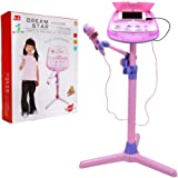 Kids Karaoke Microphone Musical Toys - Wishtime ZM16038 Kids Pink Karaoke Adjustable Stand With External Music Function & Flashing Lights Toy for Kids Children Girls