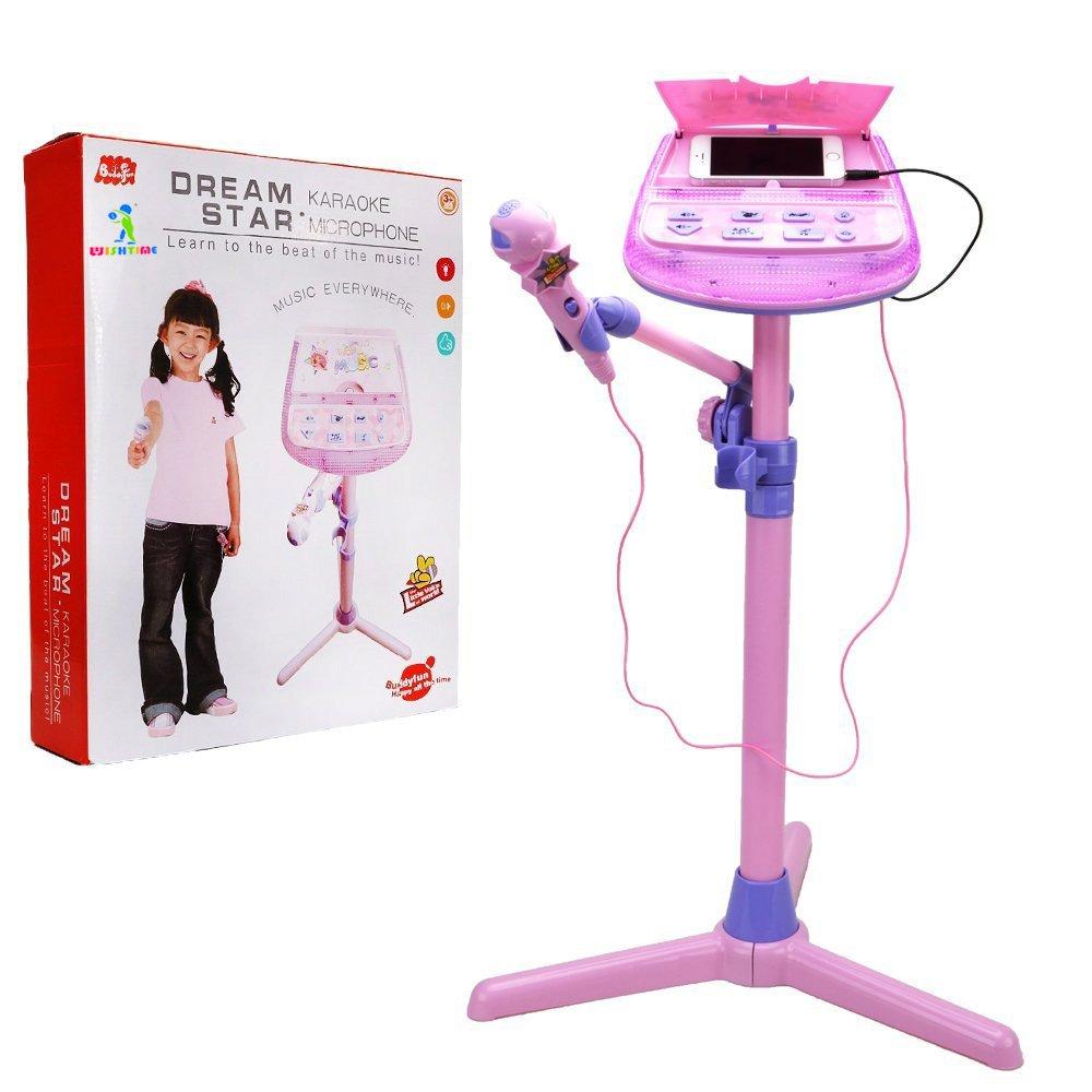 Wishtime Kids karaoke microfono Musical Toys ZM16038Kids Pink karaoke supporto regolabile con musica funzione esterno e luci lampeggianti giocattolo per bambini ragazze Hanji Karaoke Microphone