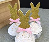 12 pcs Custom Bow Color&Gold/Silver/Black Glitter Rabbit Cupcake Toppers Picks Baby Show Boy Girl Birthday Party Favors Decoration