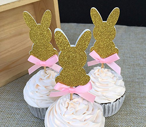 12 pcs Custom Bow Color&Gold/Silver/Black Glitter Rabbit Cupcake Toppers Picks Baby Show Boy Girl Birthday Party Favors Decoration - Gold Filigree Bow