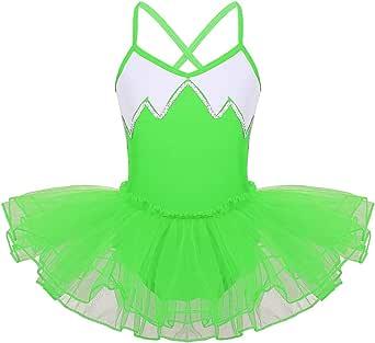 JEATHA Kids Girls Glittery Sequins Ballet Tutu Dress Criss Cross Back Spaghetti Shoulder Strap Gymnastic Leotard