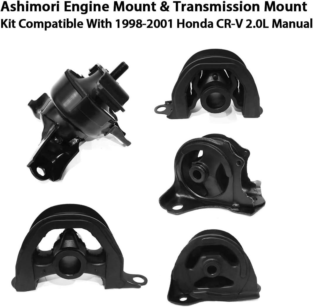 Ashimori Compatible With 1998-2001 Honda CRV CR-V 2.0L Manual MT 1999-2000 Honda Civic 1.6L Si Coupe Engine Transmission Mount Set A6502 A6556 A6520 A6506 A6526