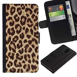 Paccase / Billetera de Cuero Caso del tirón Titular de la tarjeta Carcasa Funda para - Africa Cat Brown Fur Pattern - Samsung Galaxy S5 Mini, SM-G800, NOT S5 REGULAR!