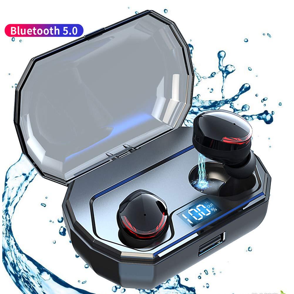 SZHAIYU TWS Wireless Earbuds Bluetooth 5.0 Earphone Smart Noise Cancelling Stereo HIFI Sound Headset 2000mAh Waterproof Headset (black)