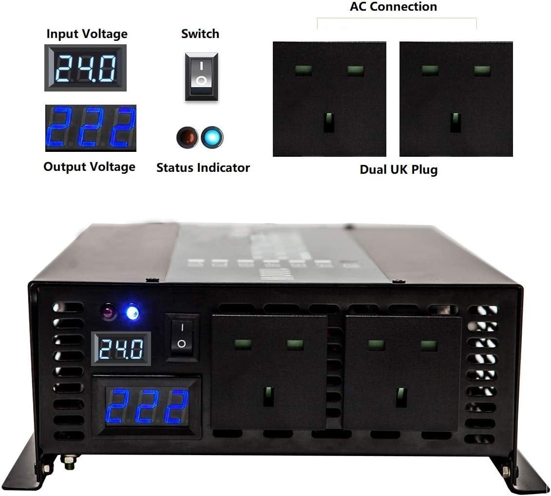 3000w12v WZRELB 3000W Pure Sine Wave Power Inverter 12v dc to 230v ac with Standard UK plug for Home appliances Solar system RV Camping