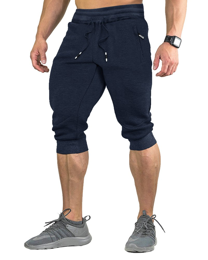 FASKUNOIE Workout Pants for Men Training Basketball 3/4 Long Shorts with Pockets Navy Blue