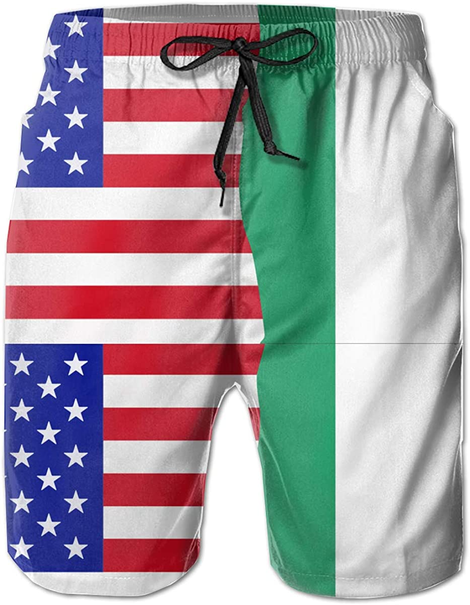 STDKNSK9 Mens Half USA Half Irish Flag Board Shorts Swimming Shorts