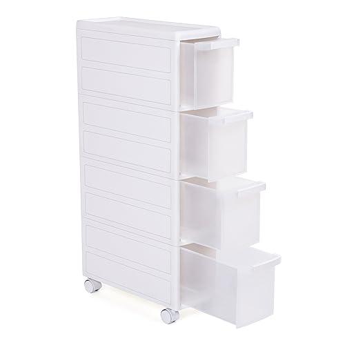 Songmics Removable Narrow Gap Storage Shelf Storage Drawer Cabinet 4-Tier/Detachable Design PP Plastic with 4 Wheels White 18 x 46 x 84,5cm (W x D x H) KFR05W