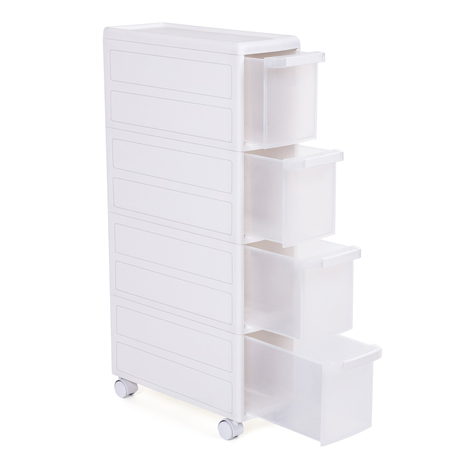 SONGMICS Carrito estrecho con ruedas Estantería de almacenamiento con cajones 4 Niveles Utilizable por separado Plástico