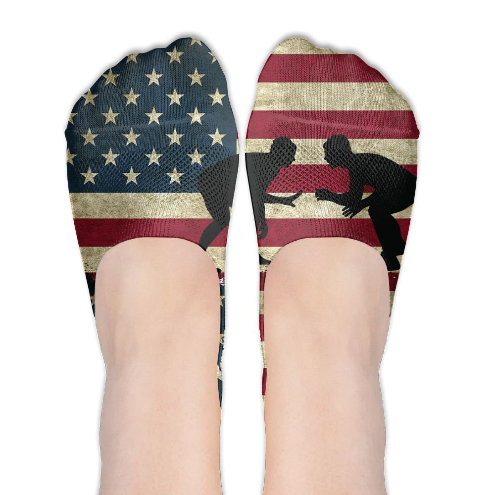 American Flag Wrestling Womens Performance Comfort Fit No-Show Socks.