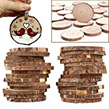 "Wood Slices, niceEshop(TM) 20 pcs 2.75""-3.14"" Unfinished Natural Wood Slices with Holes, Round Log Discs with 33 Feet Natrual Jute Twine for DIY Crafts/Christmas/Wedding Ornaments"