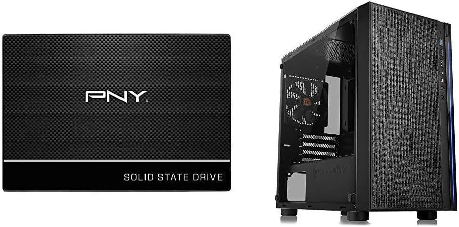 "PNY CS900 500GB 3D NAND 2.5"" SATA III Internal Solid State Drive (SSD) - (SSD7CS900-500-RB) & Thermaltake Versa H18 Tempered Glass Black Spcc Micro ATX Gaming Computer Case CA-1J4-00S1WN-01"