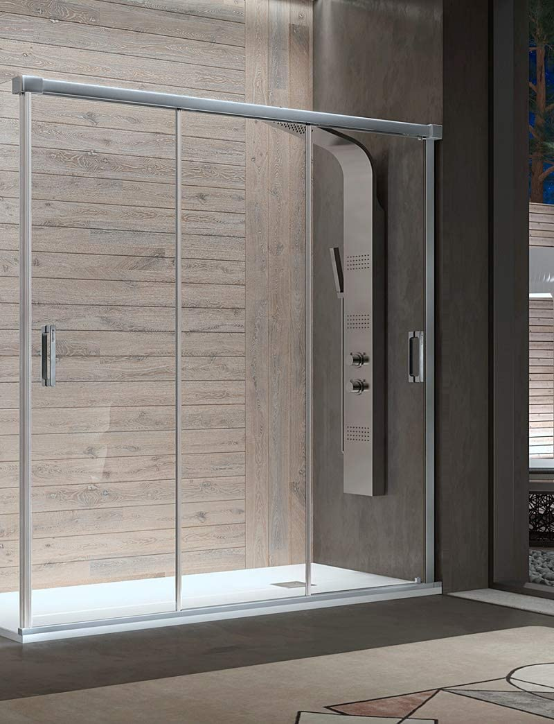 Mampara de Ducha Frontal - 3 Puertas Correderas [Apertura por ambos lados] - Cristal de Seguridad de 6 mm - Modelo Sabina (112-116 cm): Amazon.es: Bricolaje y herramientas