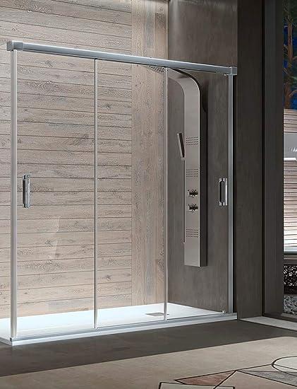 Mampara de Ducha Frontal - 3 Puertas Correderas [Apertura por ambos lados] - Cristal de Seguridad de 6 mm - Modelo ...