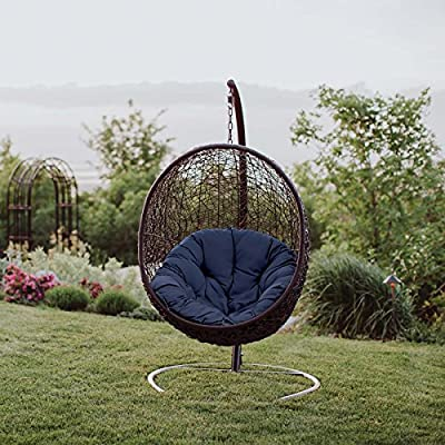 Modway EEI-739-NAV-SET Encase Wicker Rattan Outdoor Patio Porch Lounge Egg, Swing Chair with Stand, Navy - Patio refresh - escape to peaceful serenity in your own backyard with an inviting Wicker patio Swing. Accommodate the needs of your outdoor space with a modern hanging chair perfect for relaxing Outdoor Swing - featuring a sturdy powder-coated Steel frame, The seat of this outdoor patio Swing Chair is woven with luxurious Synthetic Rattan creating a stylish and supportive place to rest Contemporary style - woven texture, gentle curves, and organic appeal enhance the modern look of this outdoor Swing. Its egg shape makes it an eye-catching addition by the pool or inside the home - patio-furniture, patio, hammocks - 61XyWr619qL. SS400  -