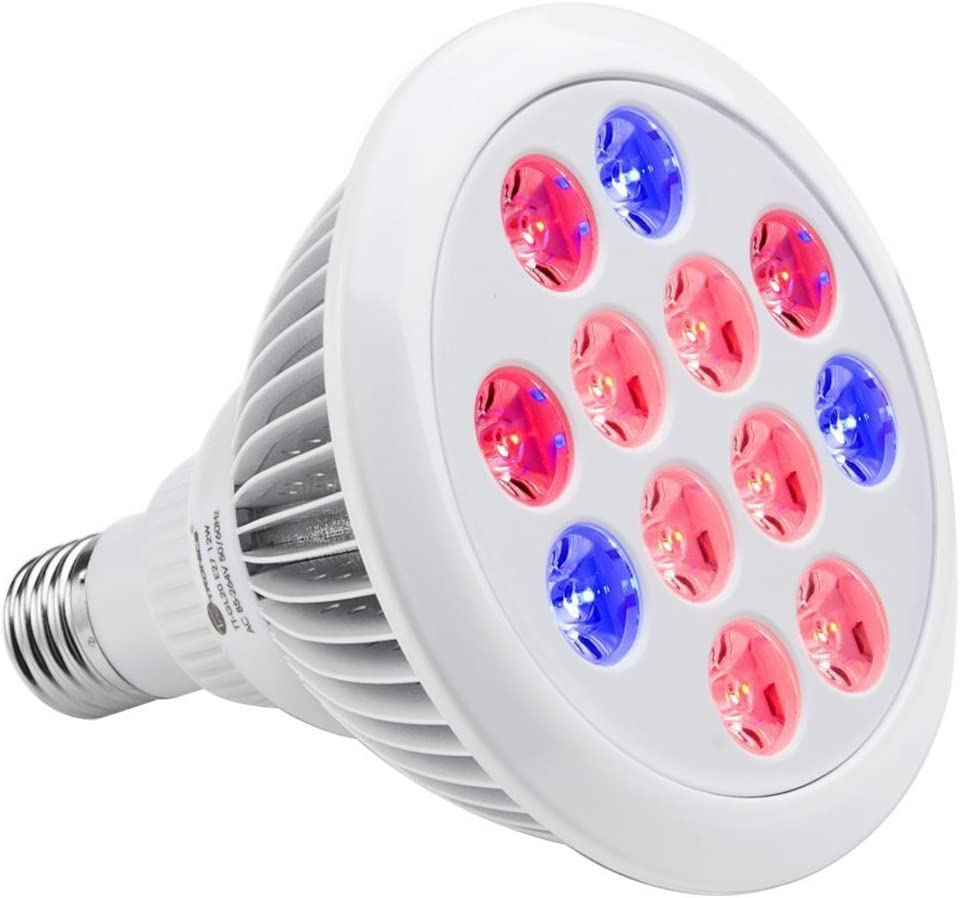 MAIBET LED Plant Grow Light Bulbs 12W Full Spectrum Grow Lamp Bulbs for Greenhouse Hydroponics Plant Grow Outdoor Indoor E26 24w 3 Bands