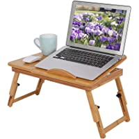 Bamboo Laptop Stand Desk, Lap Standing for Bed and Sofa Cozy Portable Adjustable Laptop Table Drawer Cup Holder Serving…