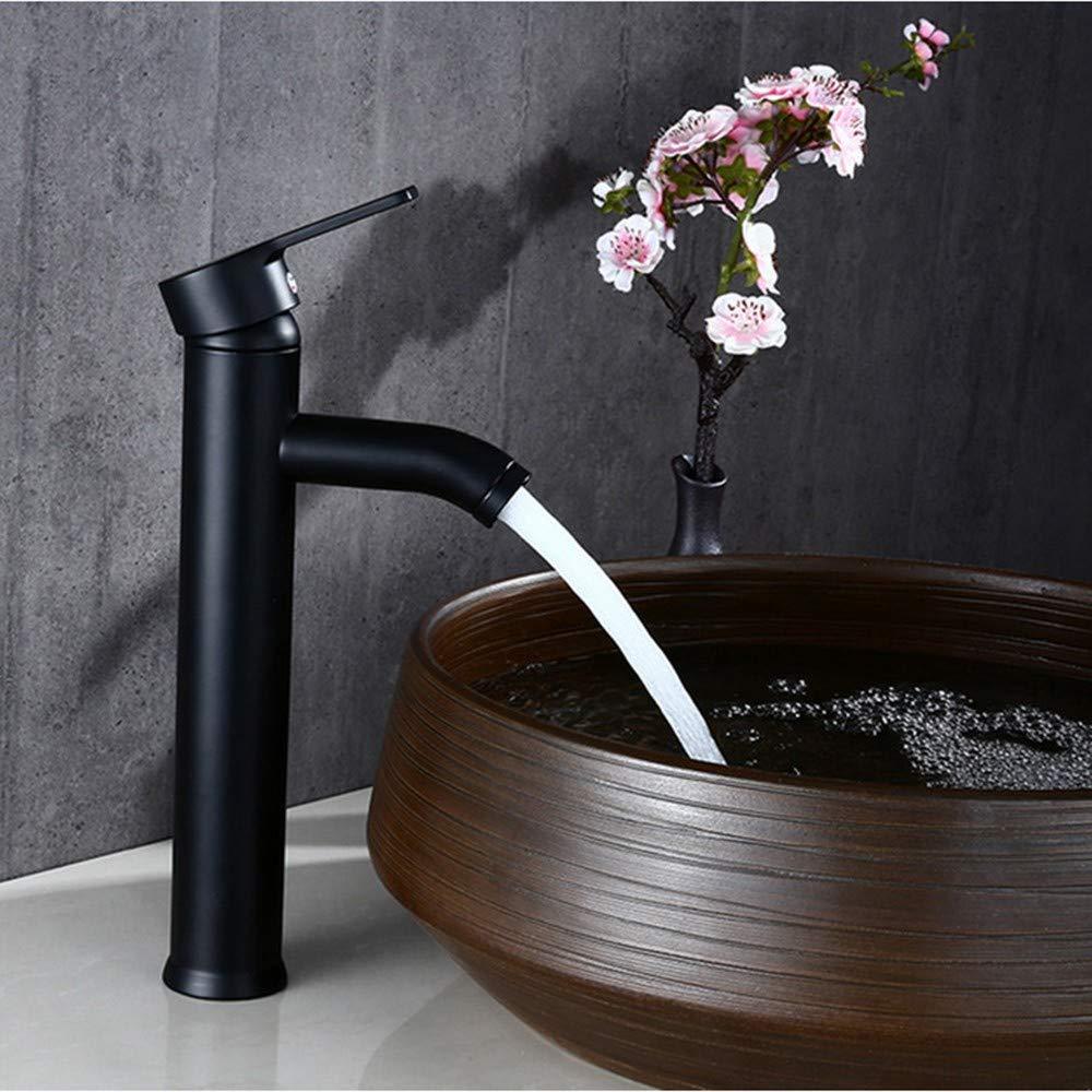 DOVPW Wasserhahn Bad Schwarze Farbe Edelstahl Bad Becken Wasserhahn Einzigen Handgriff Kalt-Und Warmwassermischer, Länger
