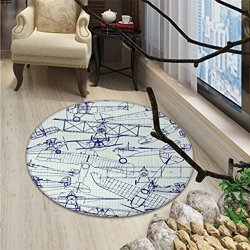 Airplane Round Rug Kid Carpet Old Airplane Drawings Classic Dated Flight Vintage Style Nostalgic JetsOriental Floor and Carpets Violet Blue ()