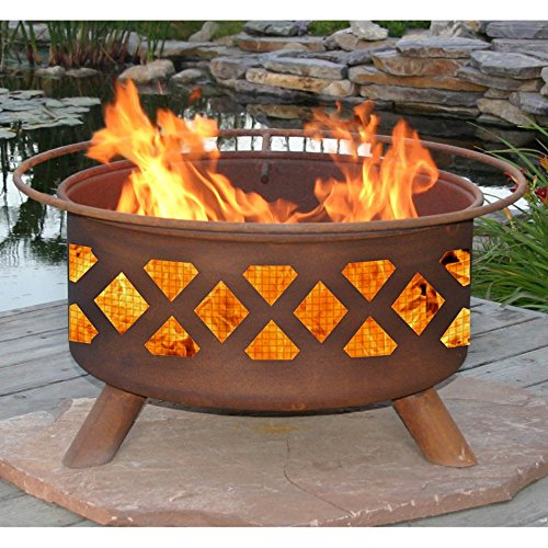 Patina Crossfire 31-Inch Fire Pit with Grill and FREE Cover by Patina