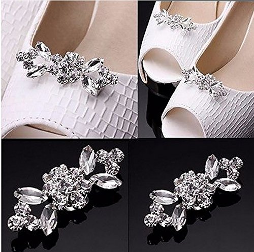 2PCS Fashion Crystal Rhinestone Shoe Clips Shoes Decoration Charms Shoe Buckle for Women Girls Party Bridal Wedding by Fodattm