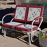 Coral Coast Paradise Cove Retro Metal Outdoor Glider Loveseat