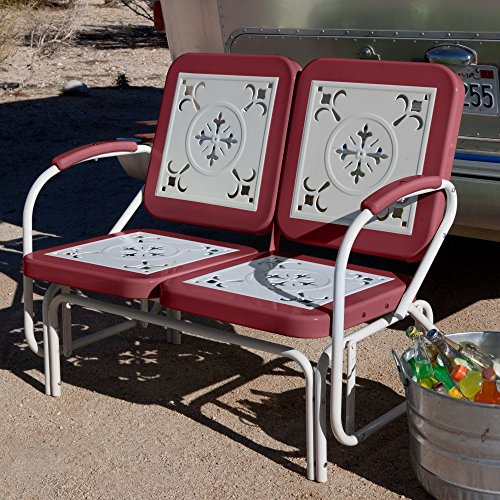 Vintage Metal Glider - Coral Coast Paradise Cove Retro Metal Outdoor Glider Loveseat