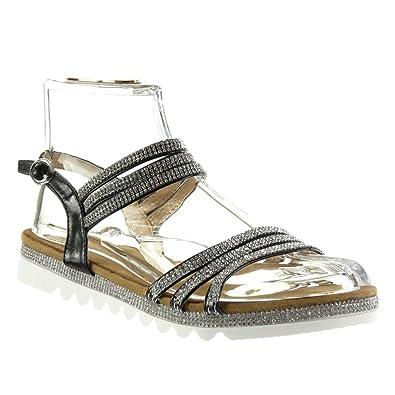 Angkorly Damen Schuhe Sandalen - Sneaker Sohle - String Tanga - Multi-Zaum - Strass Flache Ferse 2.5 cm