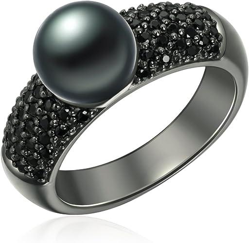 Anillo embellecido con Perlas de agua dulce - 925 Plata esterlina (ennegrecido) - Pearl Jewellery, Anillo con Zirconia