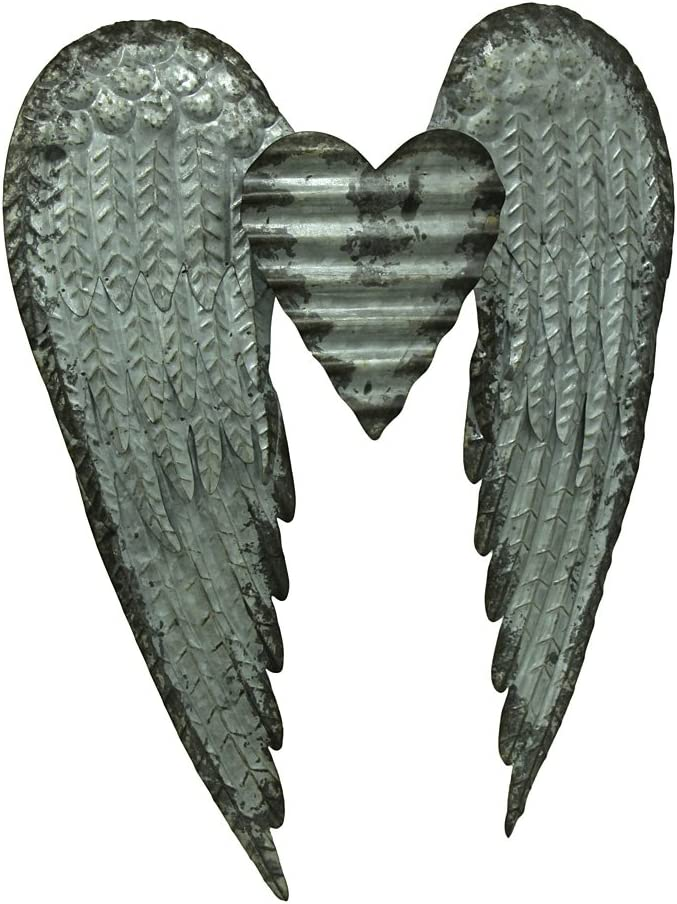 Zeckos Rustic Galvanized Stamped Metal Art Angel Wings Heart Decorative Wall Sculpture