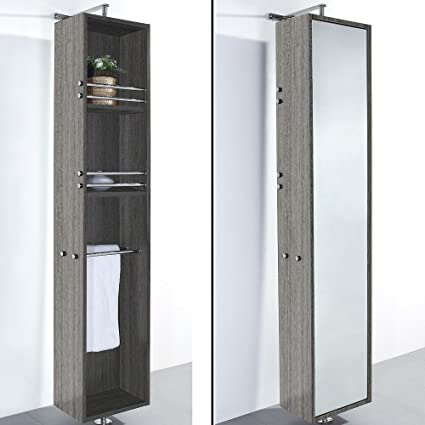 Wyndham Collection April Linen Tower U0026 360 Degree Rotating Floor Cabinet  With Full Length Mirror