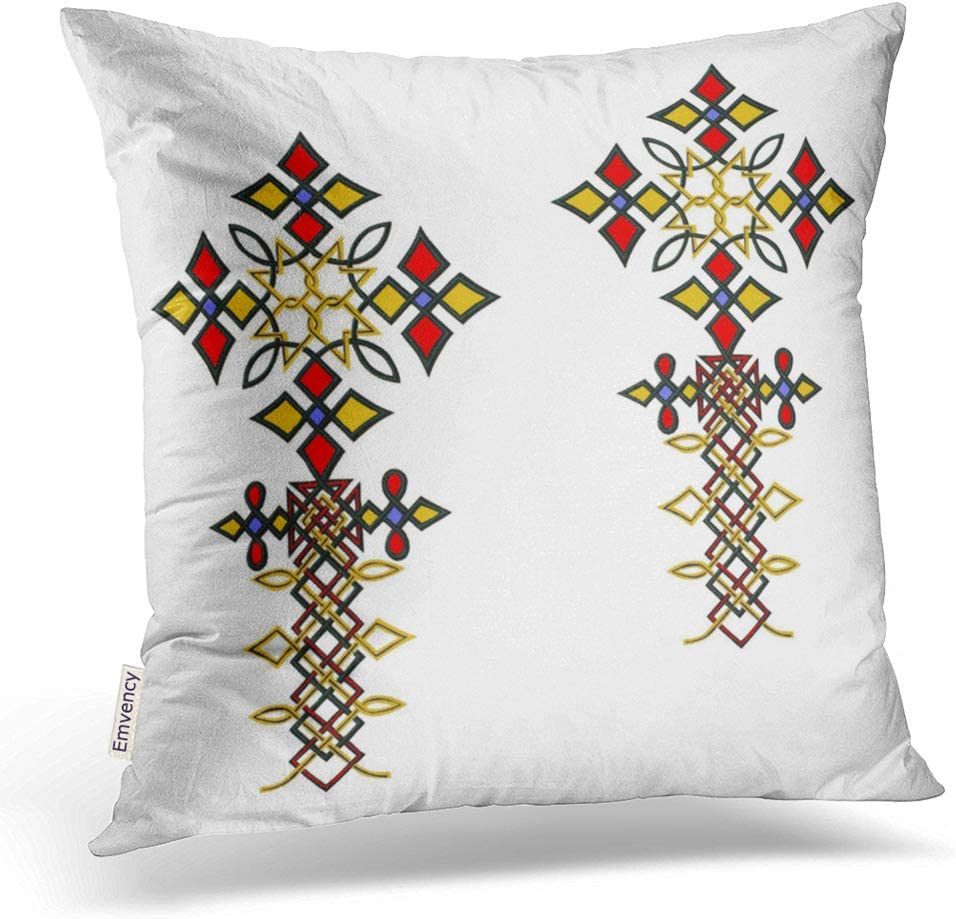 Emvency Square 18x18 Inches Decorative Pillowcases Cross Ethiopian Cross Cotton Polyester Decor Throw Pillow Cover with Hidden Zipper for Bedroom Sofa