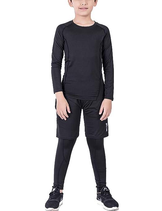 Echinodon Jungen 3tlg Sport-Set Kompressionsshirt + Kompressionshose + Sportshorts Kompressionsunterwäsche Set für Fußball Fi